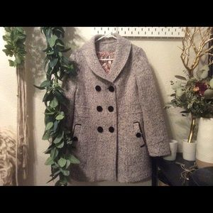 🌿 cute bouche boiled wool pea coat velvet buttons